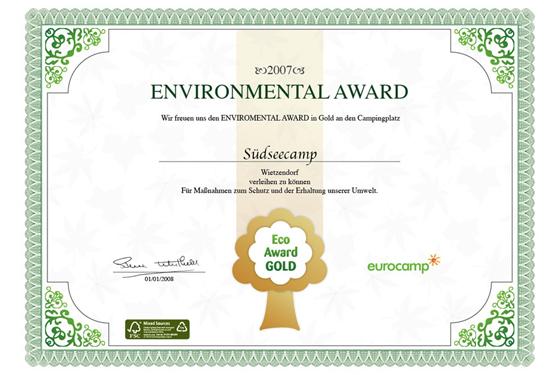 Eurocamp Umweltaward